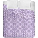 HEXAGON1 WHITE MARBLE & PURPLE DENIM (R) Duvet Cover Double Side (California King Size) View1