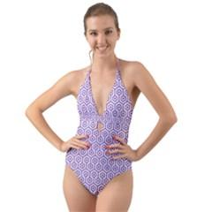 Hexagon1 White Marble & Purple Denim (r) Halter Cut Out One Piece Swimsuit