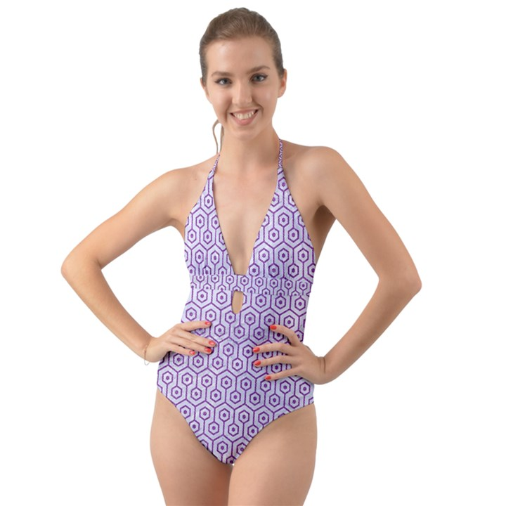 HEXAGON1 WHITE MARBLE & PURPLE DENIM (R) Halter Cut-Out One Piece Swimsuit