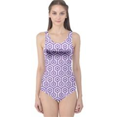 Hexagon1 White Marble & Purple Denim (r) One Piece Swimsuit