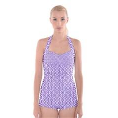 Hexagon1 White Marble & Purple Denim (r) Boyleg Halter Swimsuit