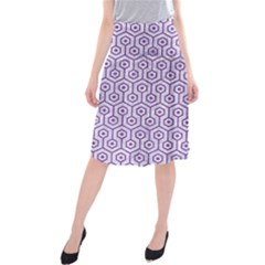 Hexagon1 White Marble & Purple Denim (r) Midi Beach Skirt