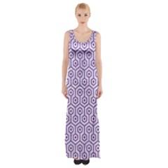 Hexagon1 White Marble & Purple Denim (r) Maxi Thigh Split Dress