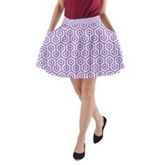 Hexagon1 White Marble & Purple Denim (r) A Line Pocket Skirt