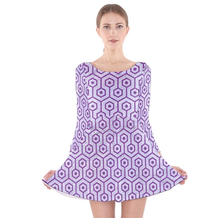 HEXAGON1 WHITE MARBLE & PURPLE DENIM (R) Long Sleeve Velvet Skater Dress