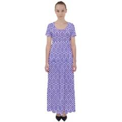 Hexagon1 White Marble & Purple Denim (r) High Waist Short Sleeve Maxi Dress