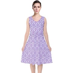 Hexagon1 White Marble & Purple Denim (r) V Neck Midi Sleeveless Dress