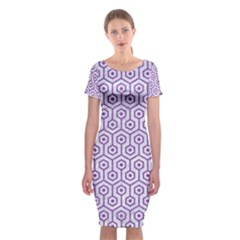 Hexagon1 White Marble & Purple Denim (r) Classic Short Sleeve Midi Dress