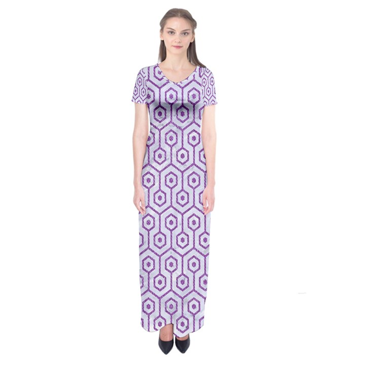 HEXAGON1 WHITE MARBLE & PURPLE DENIM (R) Short Sleeve Maxi Dress
