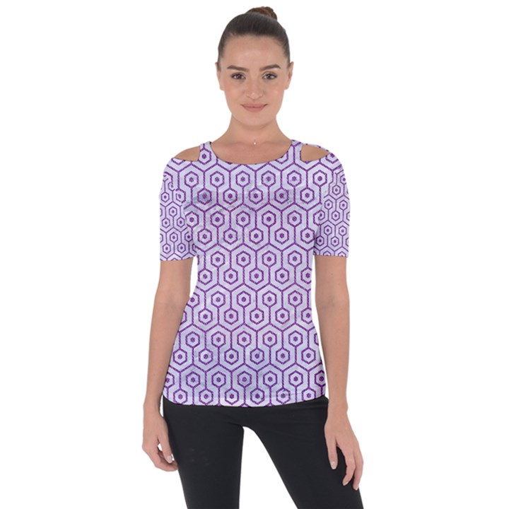 HEXAGON1 WHITE MARBLE & PURPLE DENIM (R) Short Sleeve Top