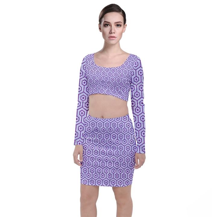 HEXAGON1 WHITE MARBLE & PURPLE DENIM (R) Long Sleeve Crop Top & Bodycon Skirt Set
