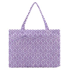Hexagon1 White Marble & Purple Denim (r) Zipper Medium Tote Bag