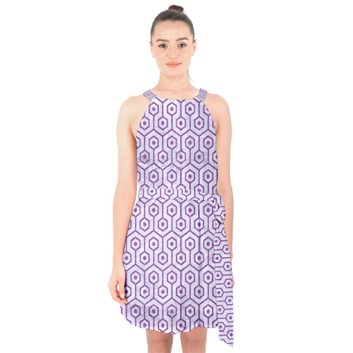 HEXAGON1 WHITE MARBLE & PURPLE DENIM (R) Halter Collar Waist Tie Chiffon Dress