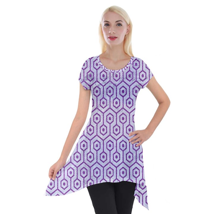 HEXAGON1 WHITE MARBLE & PURPLE DENIM (R) Short Sleeve Side Drop Tunic