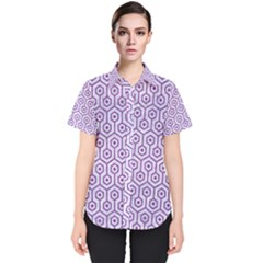 HEXAGON1 WHITE MARBLE & PURPLE DENIM (R) Women s Short Sleeve Shirt