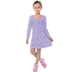 Hexagon1 White Marble & Purple Denim (r) Kids  Long Sleeve Velvet Dress