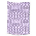 HEXAGON1 WHITE MARBLE & PURPLE DENIM (R) Large Tapestry View1