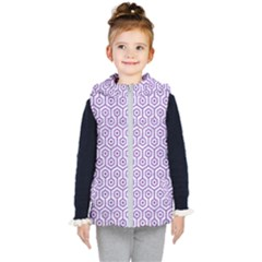 Hexagon1 White Marble & Purple Denim (r) Kid s Hooded Puffer Vest