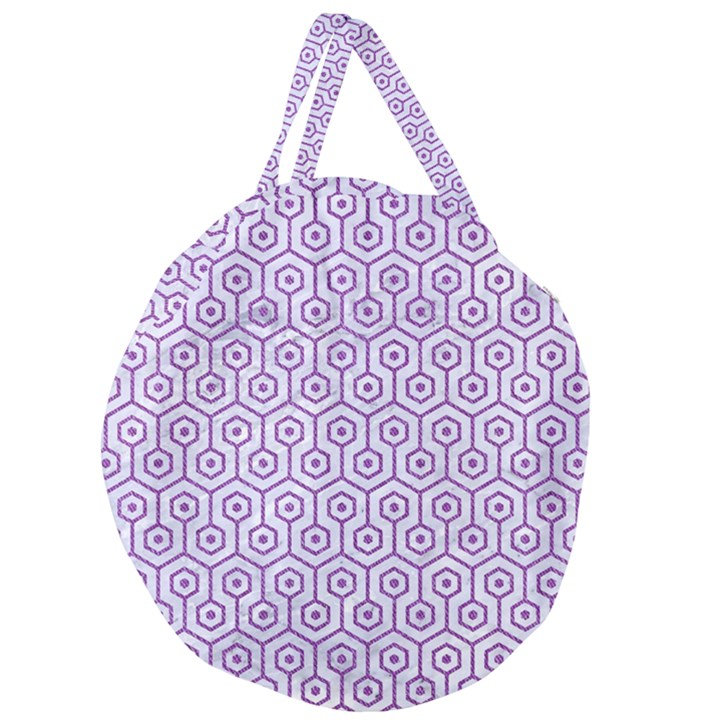 HEXAGON1 WHITE MARBLE & PURPLE DENIM (R) Giant Round Zipper Tote