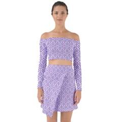Hexagon1 White Marble & Purple Denim (r) Off Shoulder Top With Skirt Set