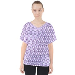 Hexagon1 White Marble & Purple Denim (r) V Neck Dolman Drape Top