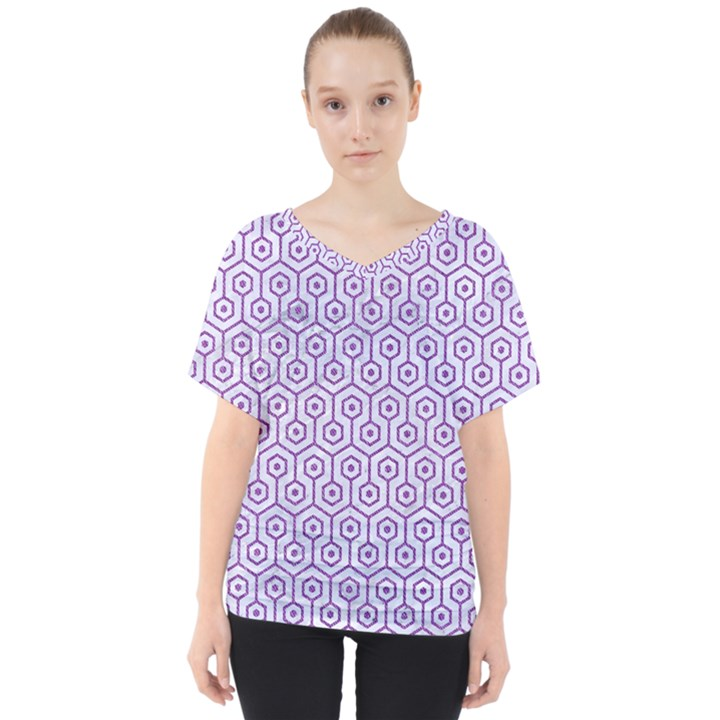HEXAGON1 WHITE MARBLE & PURPLE DENIM (R) V-Neck Dolman Drape Top