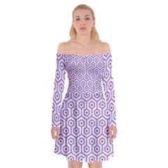 HEXAGON1 WHITE MARBLE & PURPLE DENIM (R) Off Shoulder Skater Dress