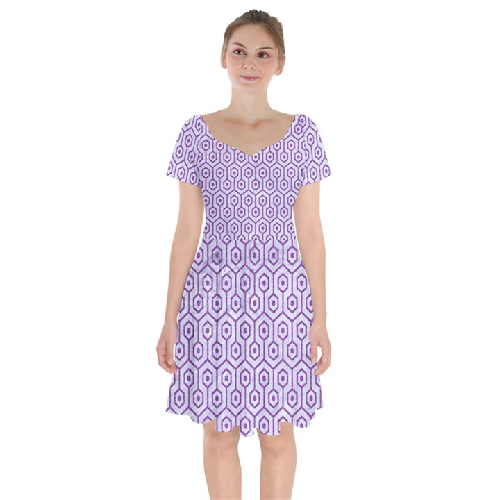 HEXAGON1 WHITE MARBLE & PURPLE DENIM (R) Short Sleeve Bardot Dress