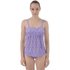 Hexagon1 White Marble & Purple Denim (r) Twist Front Tankini Set