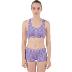 Hexagon1 White Marble & Purple Denim (r) Work It Out Gym Set