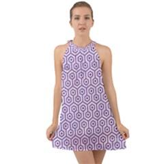 HEXAGON1 WHITE MARBLE & PURPLE DENIM (R) Halter Tie Back Chiffon Dress