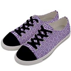 HEXAGON1 WHITE MARBLE & PURPLE DENIM (R) Men s Low Top Canvas Sneakers