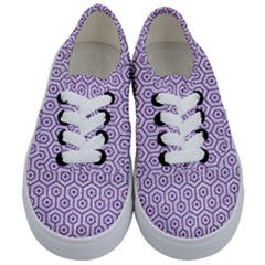 Hexagon1 White Marble & Purple Denim (r) Kids  Classic Low Top Sneakers