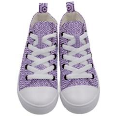 Hexagon1 White Marble & Purple Denim (r) Kid s Mid Top Canvas Sneakers
