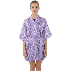 Hexagon1 White Marble & Purple Denim (r) Quarter Sleeve Kimono Robe
