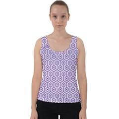 Hexagon1 White Marble & Purple Denim (r) Velvet Tank Top