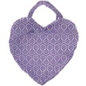 HEXAGON1 WHITE MARBLE & PURPLE DENIM (R) Giant Heart Shaped Tote View1