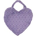 HEXAGON1 WHITE MARBLE & PURPLE DENIM (R) Giant Heart Shaped Tote View2