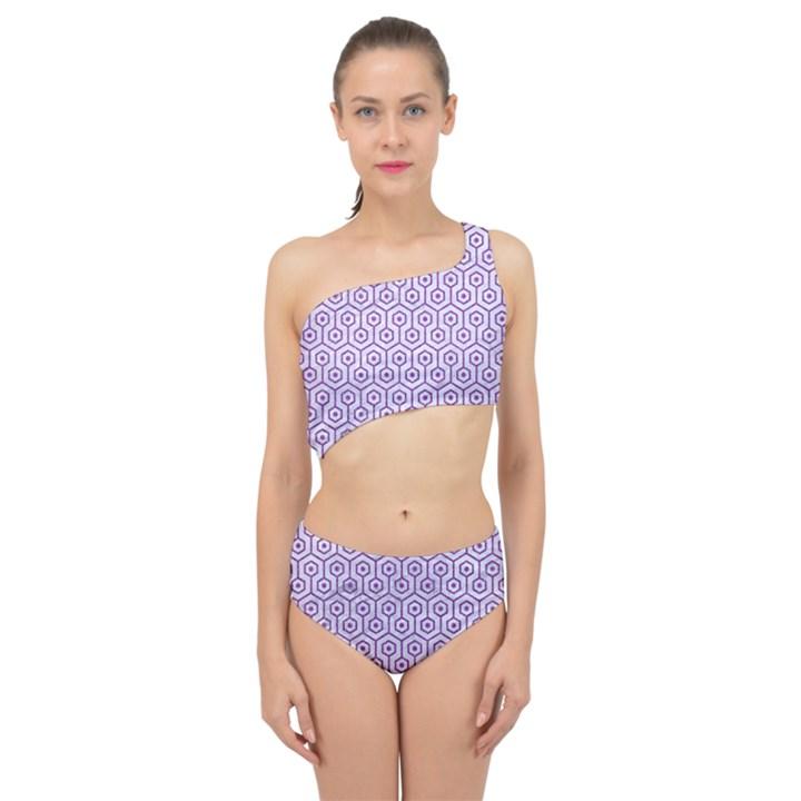 HEXAGON1 WHITE MARBLE & PURPLE DENIM (R) Spliced Up Swimsuit