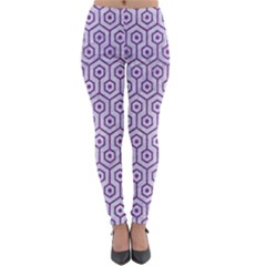 Hexagon1 White Marble & Purple Denim (r) Lightweight Velour Leggings