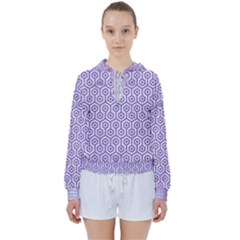 Hexagon1 White Marble & Purple Denim (r) Women s Tie Up Sweat