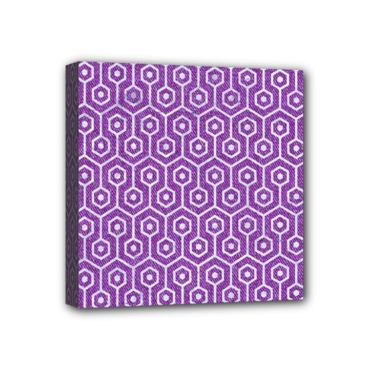 HEXAGON1 WHITE MARBLE & PURPLE DENIM Mini Canvas 4  x 4
