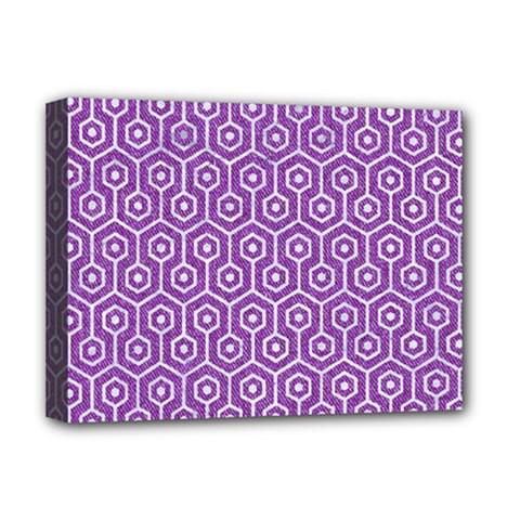 Hexagon1 White Marble & Purple Denim Deluxe Canvas 16  X 12