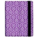 HEXAGON1 WHITE MARBLE & PURPLE DENIM Apple iPad 2 Flip Case View2