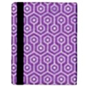 HEXAGON1 WHITE MARBLE & PURPLE DENIM Apple iPad 2 Flip Case View3