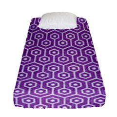 Hexagon1 White Marble & Purple Denim Fitted Sheet (single Size)
