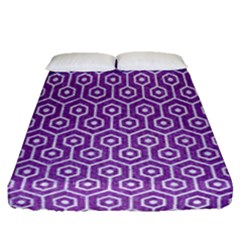 Hexagon1 White Marble & Purple Denim Fitted Sheet (queen Size)