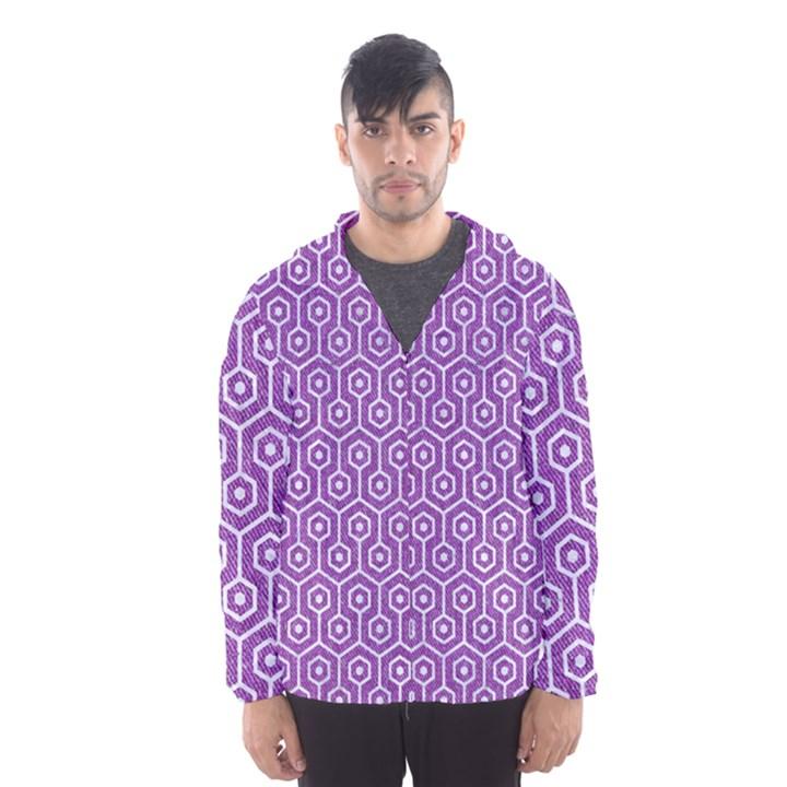 HEXAGON1 WHITE MARBLE & PURPLE DENIM Hooded Wind Breaker (Men)