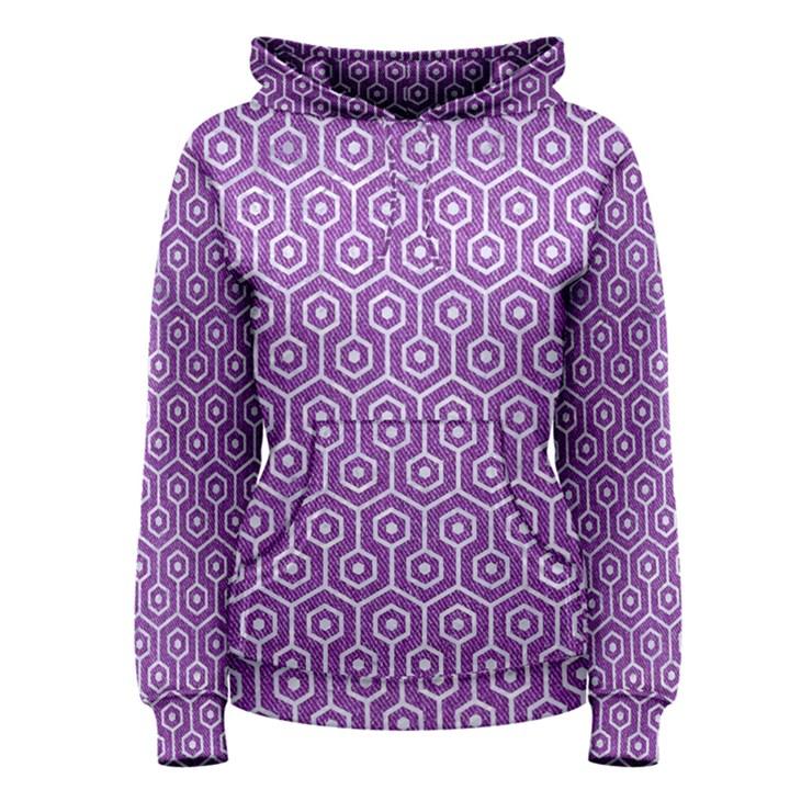 HEXAGON1 WHITE MARBLE & PURPLE DENIM Women s Pullover Hoodie