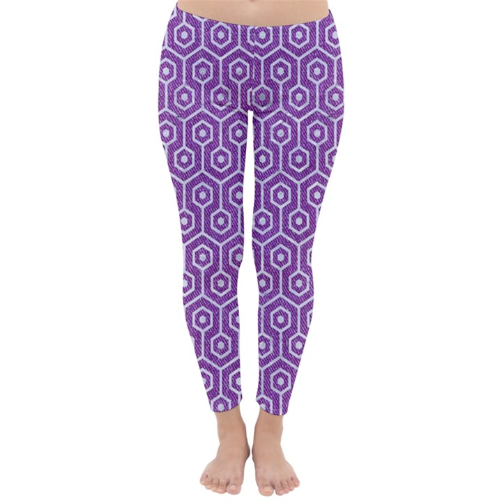HEXAGON1 WHITE MARBLE & PURPLE DENIM Classic Winter Leggings